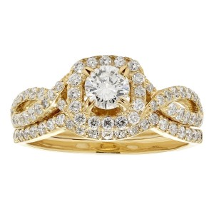 Gold 1ct TDW White Diamond Bridal Set - Custom Made By Yaffie™