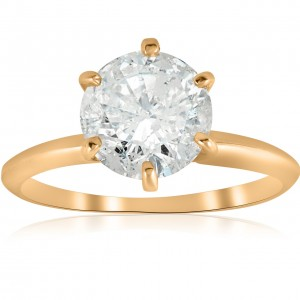 Gold 2 1/2 ct TDW Solitaire Diamond Clarity Enhanced Engagement Ring 6 - Prong - Custom Made By Yaffie™