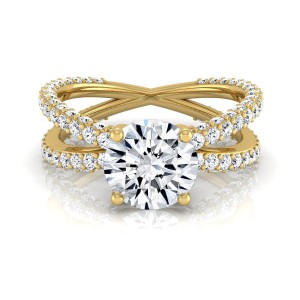 Gold 2 1/4ct TDW Round Diamond Crossover Engagement Ring - Custom Made By Yaffie™