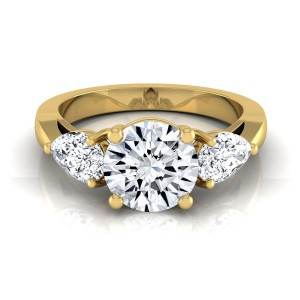 Gold 2ct TDW 3-stone Diamond Engagement Ring - Custom Made By Yaffie™