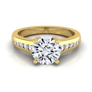 Gold 5/8ct TDW White Diamond Channel Engagement Ring - Custom Made By Yaffie™
