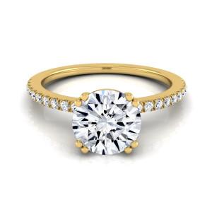 Gold 5/8ct TDW White Diamond Classic Petite Split Prong Engagement Ring - Custom Made By Yaffie™