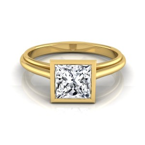 Gold IGI-Certified 1ct TDW Princess Cut Diamond Bezel Solitaire Engagement Ring - Custom Made By Yaffie™