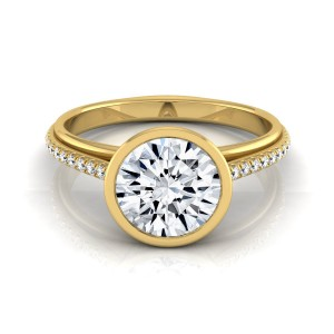 Gold IGI-certified 1 1/10ct TDW Round Diamond Bezel Solitaire Engagement Ring - Custom Made By Yaffie™
