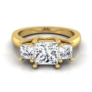 Gold IGI-certified 1 1/2ct TDW Princess-cut 3-stone Engagement Ring - Custom Made By Yaffie™