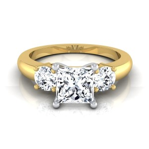 Gold IGI-certified 1 1/4ct TDW Princess-cut Center 3-stone Engagement Ring - Custom Made By Yaffie™