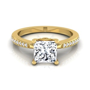 Gold IGI-certified 1 1/8ct TDW Princess-cut Diamond Solitaire Engagement Ring - Custom Made By Yaffie™