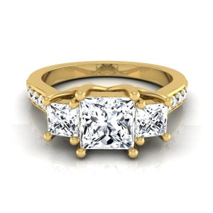 Gold IGI-certified 1 3/4ct TDW Princess-cut 3-stone Engagement Ring - Custom Made By Yaffie™