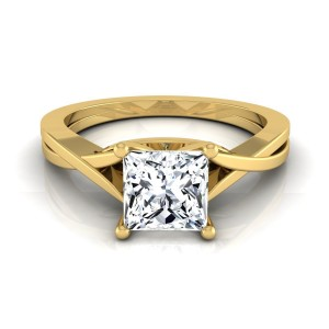 Gold IGI-certified 1ct TDW Princess-cut Diamond Solitaire Cathedral Setting Engagement Ring - Custom Made By Yaffie™