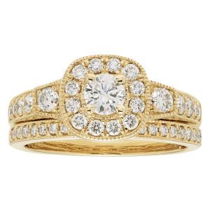 Gold IGI-certified 1ct TDW Round Diamond Bridal Ring Set - Custom Made By Yaffie™