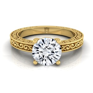 Gold IGI-certified 1ct TDW Round Diamond Solitaire Engagement Ring - Custom Made By Yaffie™