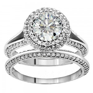 or White Gold 2 1/5ct TDW Diamond Encrusted Halo Engagement Ring - Custom Made By Yaffie™