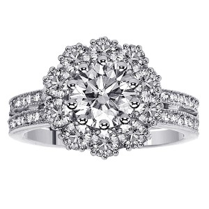 or White Gold 2 1/6ct TDW 2-row Shank Diamond Halo Engagement Ring - Custom Made By Yaffie™