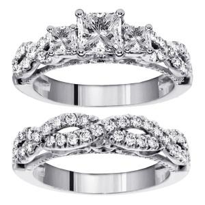 14k/Gold 2ct TDW 3-Stone Princess Cut Diamond Braided Engagement Bridal Ring Set - Custom Made By Yaffie™