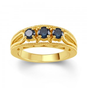Gold Over Sterling Silver 1/2ct TDW Blue Diamond 3- Stone Engagement Ring - Custom Made By Yaffie™