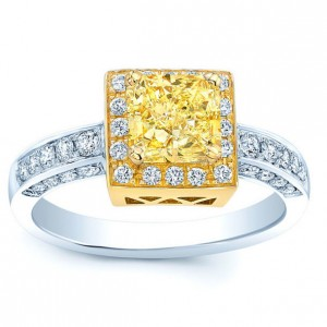 Two-tone Gold 1 1/3ct TDW Certified Fancy Yellow Radiant Diamond Engagement Ring - Custom Made By Yaffie™