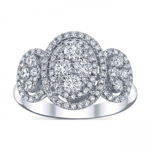 White Gold 1 1/4ct TDW Oval Diamond Ring - Custom Made By Yaffie™