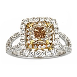 White Gold 2 1/10ct TDW Fancy Champagne Diamond Engagement Ring - Custom Made By Yaffie™