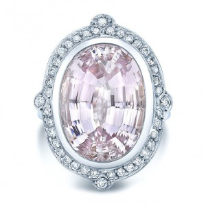 White Gold 2/5ct TDW Diamond and Kunzite Cocktail Ring - Custom Made By Yaffie™