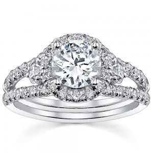 White Gold 2ct TDW Round Split Shank Halo Diamond Engagement Ring - Custom Made By Yaffie™