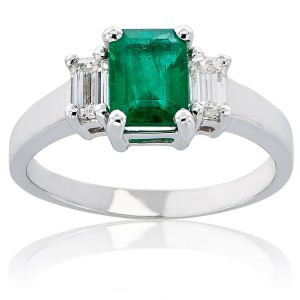 White Gold Emerald Diamond High-polished Ring - Custom Made By Yaffie™