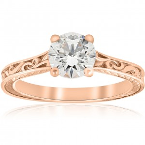 1ct Diamond Solitaire Rose Gold Vintage Engagement Ring Art Deco Filigree Clarity Enhanced - Custom Made By Yaffie™