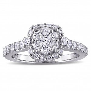 1ct TDW Diamond Flower Halo Engagement Ring in White Gold by The Signature Collection - Custom Made By Yaffie™