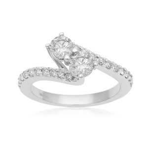 1ct Two Diamond Plus Pave Ring In White Gold - Custom Made By Yaffie™
