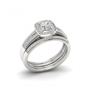 2/5ct TDW Diamond Bridal Set in Sterling Silver - Custom Made By Yaffie™