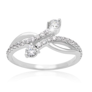 2Be Bonded Together White Gold 1/2ct TDW Two Diamond Plus Ring - Custom Made By Yaffie™