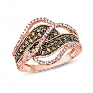 3/4 Carat Champagne And White Diamond Multi Row Bypass Fashion Ring In Rose Gold. - Custom Made By Yaffie™