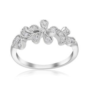 White Gold 1/5ct TDW Diamond Flower RIng - Custom Made By Yaffie™