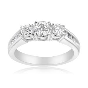 White Gold 1ct TDW 3-stone Diamond Ring - Custom Made By Yaffie™