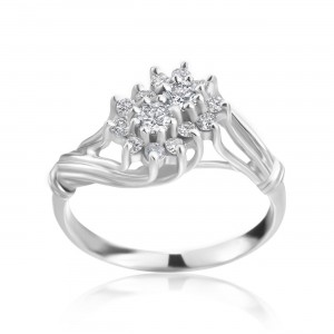 White Gold 2/5ct TDW Diamond Cluster Ring - Custom Made By Yaffie™
