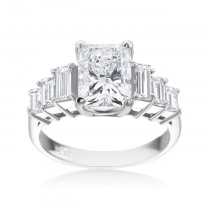 Platinum Radiant 3 1/4ct with 6 Baguette 1 1/10ct TDW Diamond Ring - Custom Made By Yaffie™