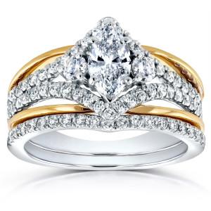 2-tone Gold 1 1/5ct TDW Marquise Diamond Art Deco Bridal Ring Set - Custom Made By Yaffie™