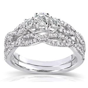 Gold 1/2ct TDW Diamond Braided Bridal Ring Set - Custom Made By Yaffie™
