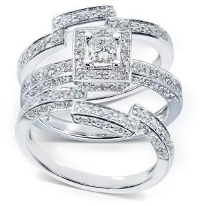 Gold 4/5ct TDW Diamond 3-piece Halo Bridal Ring Set - Custom Made By Yaffie™