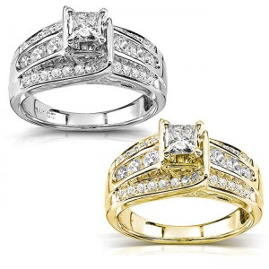 Gold 7/8ct TDW Princess Diamond Engagement Ring - Custom Made By Yaffie™