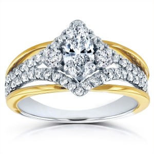 Two-tone Gold 1ct TDW Art Deco Diamond Engagement Ring - Custom Made By Yaffie™