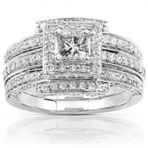 White Gold 1 1/2ct TDW Diamond Princess Halo Bridal Ring Set - Custom Made By Yaffie™