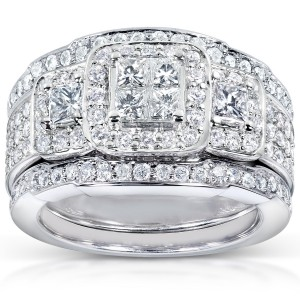 White Gold 1 1/3ct TDW Diamond 3-piece Bridal Ring Set - Custom Made By Yaffie™