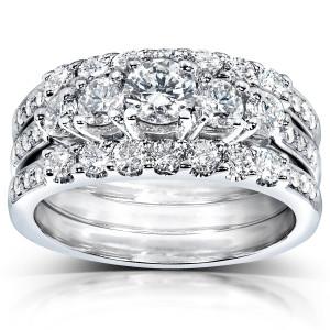 White Gold 1 1/3ct TDW Diamond 3-piece Bridal Ring Set - Custom Made By Yaffie™