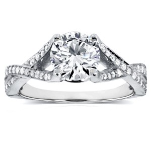 White Gold 1 1/4ct TDW Diamond Criss Cross Pave Engagement Ring - Custom Made By Yaffie™