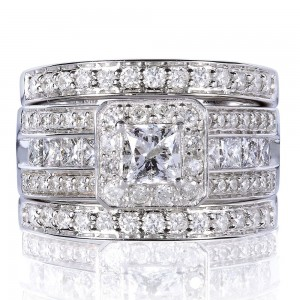 White Gold 1 4/5ct TDW Princess-cut Halo Diamond 3-piece Bridal Set - Custom Made By Yaffie™