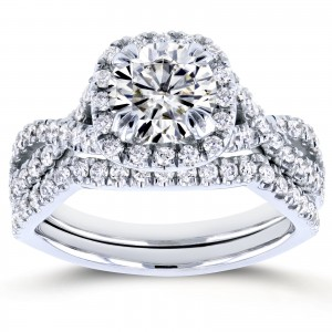 White Gold 1ct Forever Brilliant Moissanite and 3/4ct TDW Diamond Criss Cross Bridal Set - Custom Made By Yaffie™