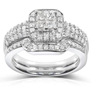 White Gold 5/8ct TDW Diamond Bridal Halo Ring Set - Custom Made By Yaffie™
