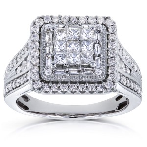 White Gold 1ct TDW Diamond Square Frame Invisible-set Princess Engagement Ring - Custom Made By Yaffie™