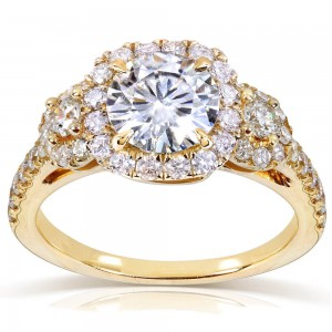 Gold 1 3/4ct TGW Moissanite and Diamond Three Stone Halo Engagement Ring - Custom Made By Yaffie™