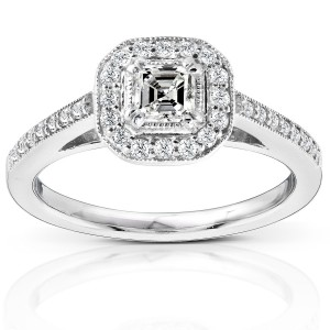 Gold 1/2ct TDW Asscher Diamond Halo Ring - Custom Made By Yaffie™